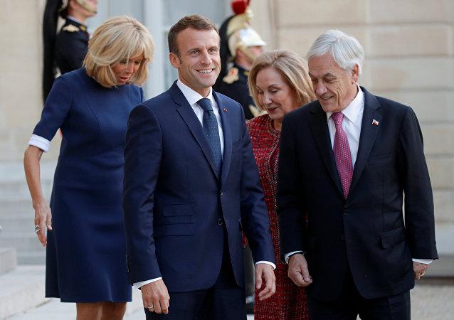 Emmanuel Macron, presidente de Francia y Sebastián Piñera, presidente de Chile