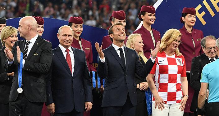 Ceremonia de premiación tras la final entre Francia y Croacia