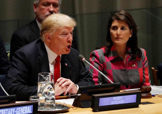 Presidente de EEUU, Donald Trump, y embajadora de EEUU ante la ONU, Nikki Haley