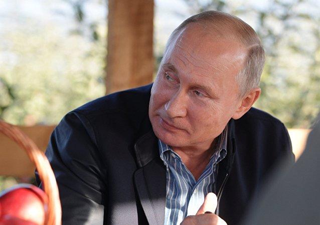Vladímir Putin, presidente de Rusia, en la región de Stávropol