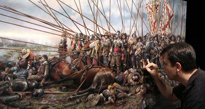 El pintor español Augusto Ferrer-Dalmau pinta el cuadro 'Rocroi, el último tercio' (2011)