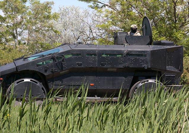 El nuevo vehículo blindado del Centro de Servicios Especiales del Servicio Federal de Seguridad Falkatus