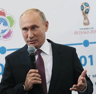 Vladímir Putin, presidente de Rusia en un foro dedicado al deporte que se celebra en la ciudad rusa de Uliánovsk