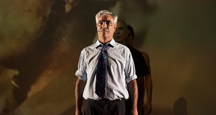 Gabriel Sagastume, veterano y actor de la obra de teatro Campo Minado