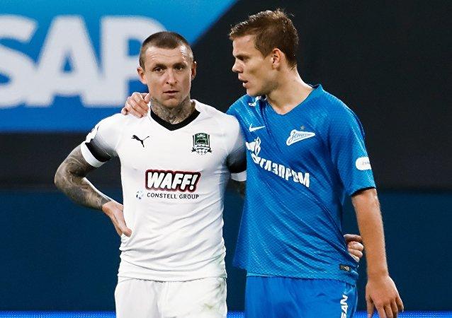 Futbolistas rusos Pável Mamáev y Alexandr Kokorin