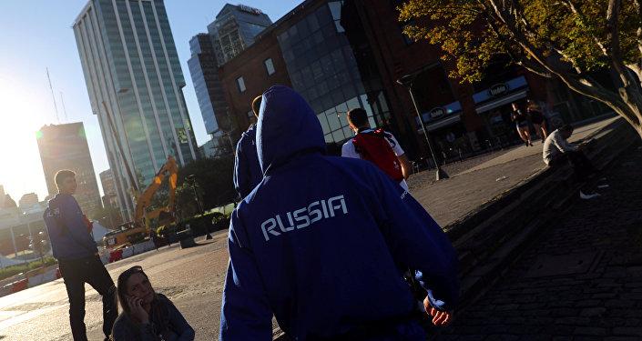 Miembro de la delegación rusa en  los Juegos Olímpicos de la Juventud en Argentina