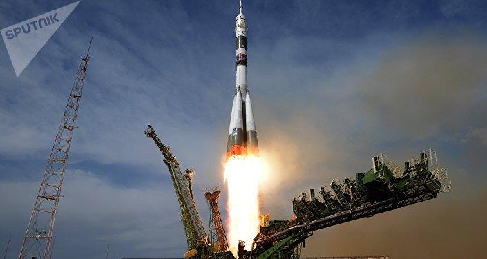 El lanzamiento de una nave espacial Soyuz