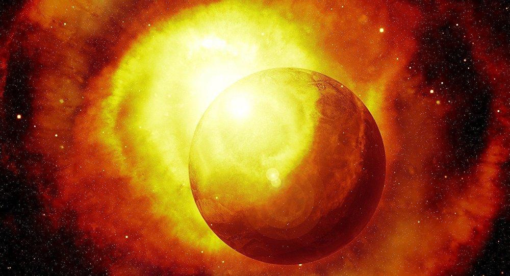 Explosión y un planeta