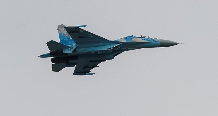 Un avión de combate Su-27 ucraniano