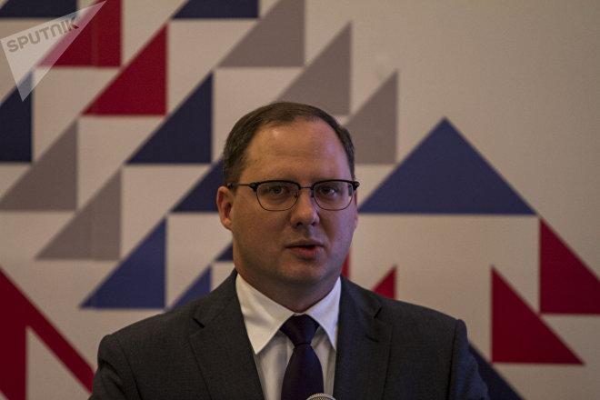 Alexéi Grúzdev, viceministro de Industria y Comercio de la Federación de Rusia en el evento de la Misión Empresarial del Centro Ruso de Exportaciones en México.