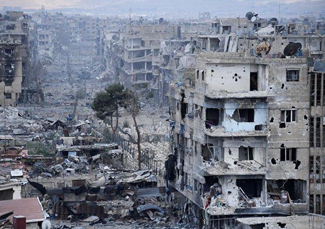 Áreas destruidas en el sur de Damasco