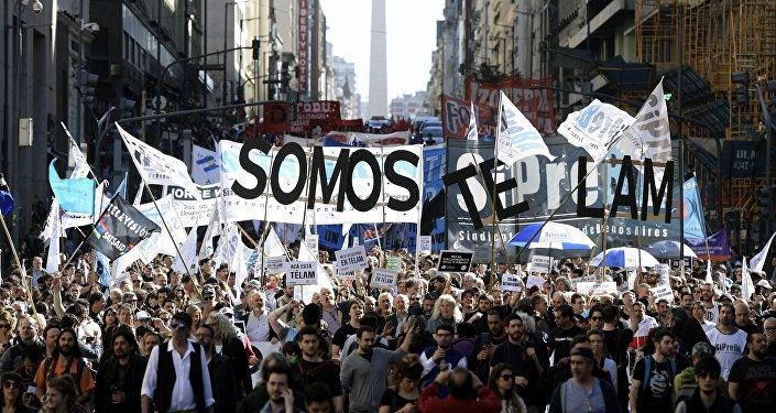 Protestas contra los despidos de Télam en Buenos Aires, Argentina