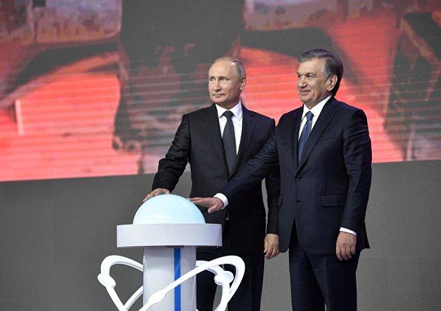 El presidente de Rusia, Vladímir Putin y el presidente de Uzbekistán, Shavkat Mirziyoyev