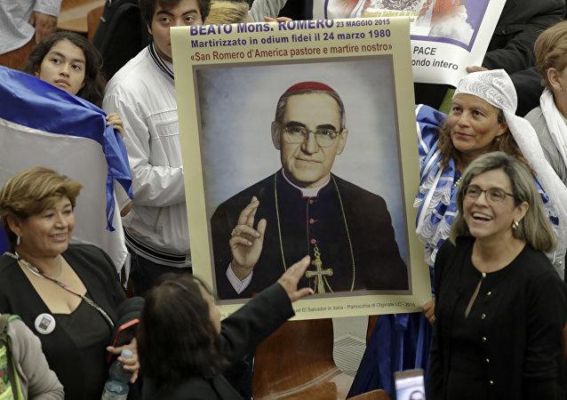 Pelegrinos salvadoreños durante la canonización de Óscar Romero en el Vaticano, el 14 de octubre de 2018