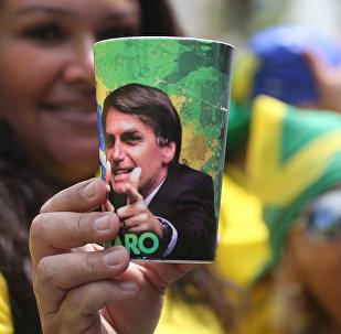 La imagen del candidato brasileño presidencial ultraderechista Jair Bolsonaro