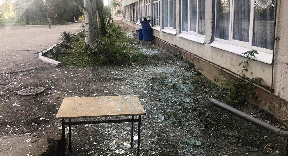 Edificio del politécnico de Kerch tras la explosión