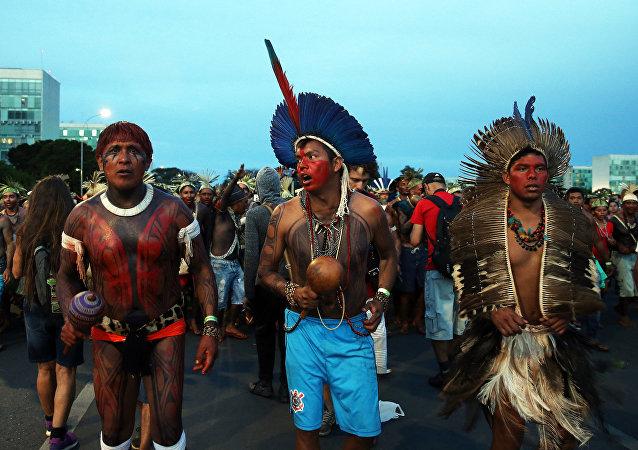 Una manifestación indígena en Brasilia