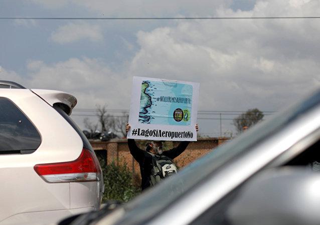 Protestas contra la construcción del Nuevo Aeropuerto Internacional de México en el lecho del lago Texcoco