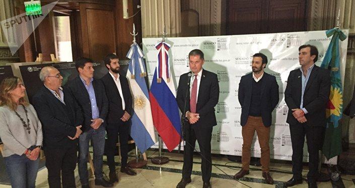 Embajador ruso en Argentina, Dmitry Feoktistov, durante la jornada realizada con motivo del décimo aniversario de la firma del acuerdo de asociación estratégica entre ambas naciones
