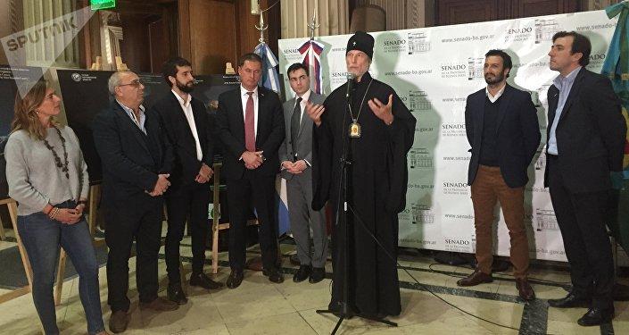Metropolita Ignacio, cabeza de la Iglesia Ortodoxa Rusa en América del Sur, durante la jornada realizada con motivo del décimo aniversario de la firma del acuerdo de asociación estratégica entre ambas naciones