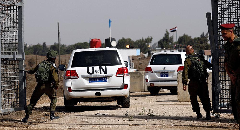 Vehículos de la ONU en los Altos del Golán