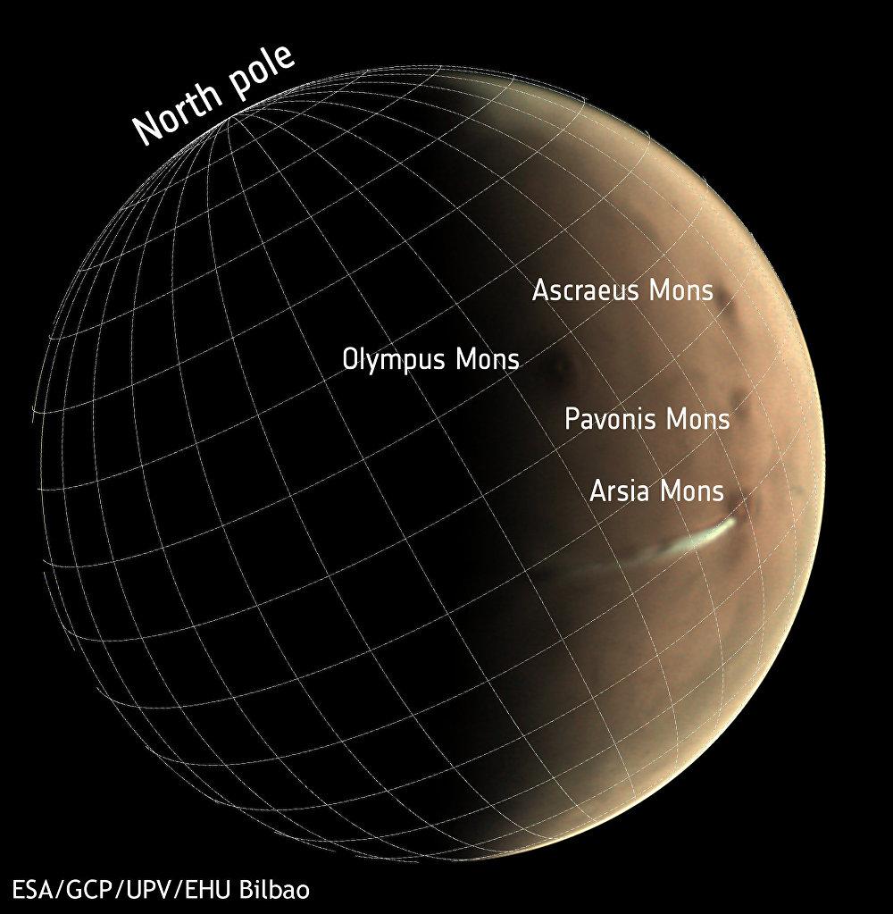 La Agencia Espacial Europea (ESA, por sus siglas en inglés) detectó una nube alargada que apareció en el área del volcán Arsia Mons en Marte
