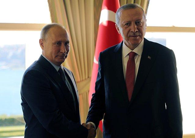 Presidente de Rusia, Vladímir Putin, y presidente de Turquía, Recep Tayyip Erdogan, en Estambul