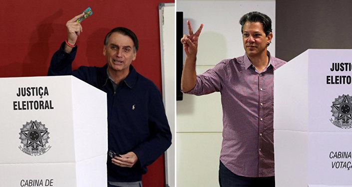 Jair Bolsonaro (izda.) y Fernando Haddad (dcha.), los candidatos a la presidencia de Brasil
