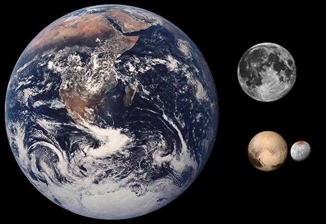 Comparación de las dimensiones de la Tierra, la Luna, Plutón y Caronte