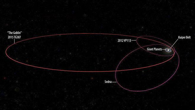 Comparación de las órbitas de Sedna, 2012 VP113 y 2015 TG387 Goblin