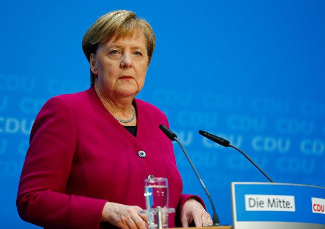 Angela Merkel, canciller alemana en una rueda de prensa