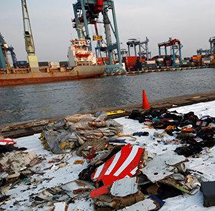 Los escombros del avión siniestrado de la compañía Lion Air