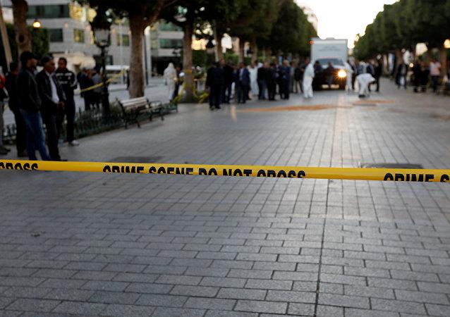 El lugar del atentado suicida en Túnez