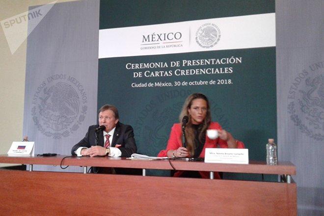 Víktor Koronelli, embajador de la Federación de Rusia durante la conferencia de prensa tras la presentación de sus Cartas Credenciales al Gobierno