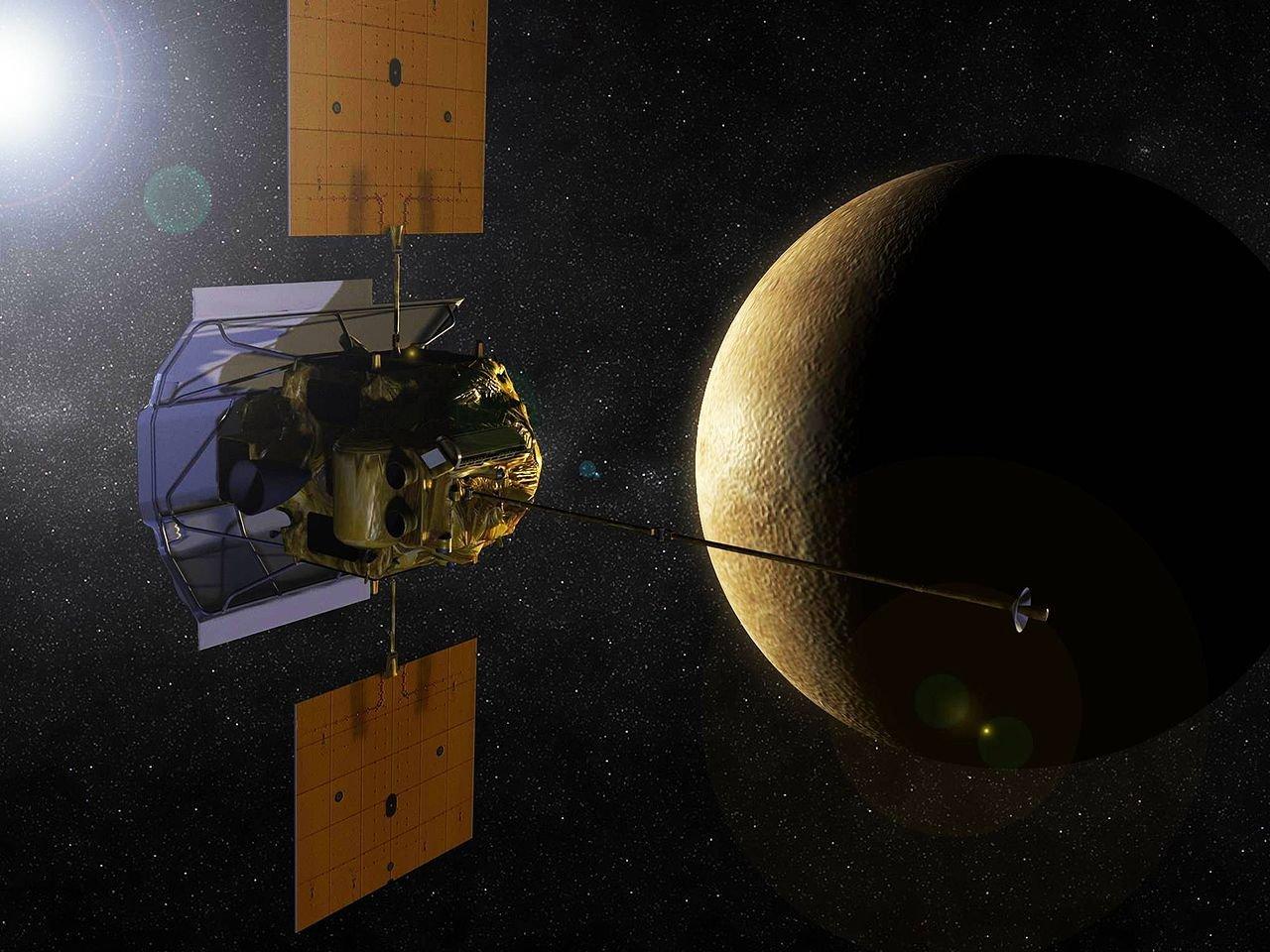 La sonda MESSENGER en la órbita de Mercurio, imagen ilustrativa