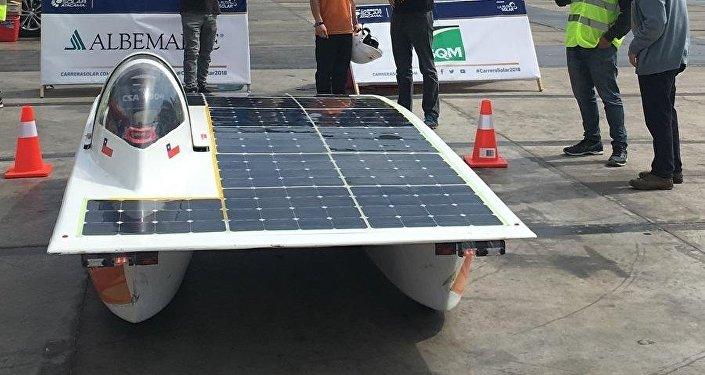 El vehículo solar Punch II, ganador de la Carrera Solar Atacama