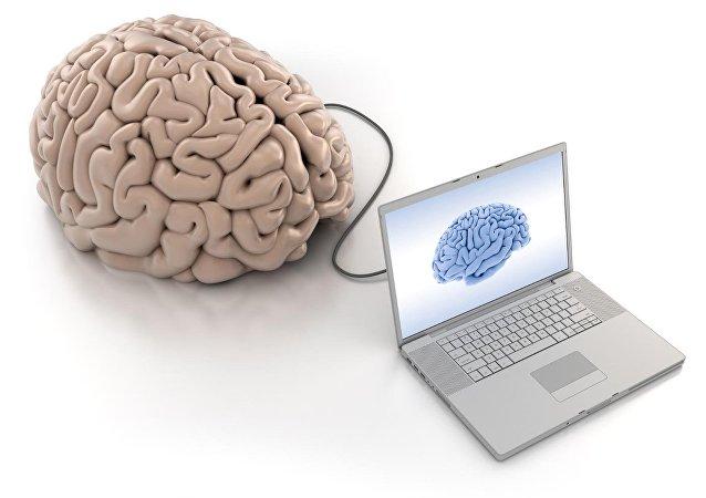 Un cerebro conectado a una computadora (ilustración)