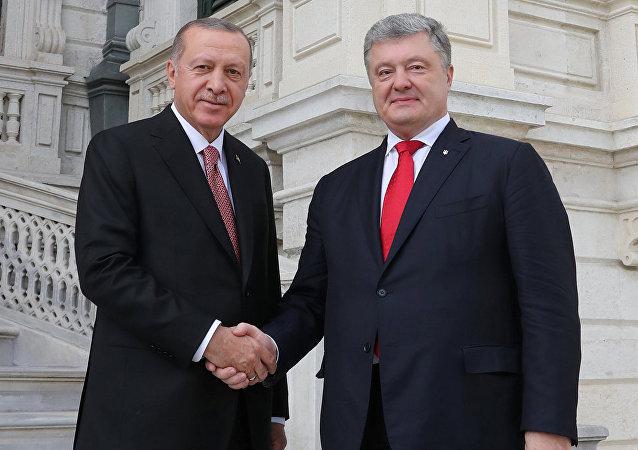 Recep Tayyip Erdogan, presidente turco, y su homólogo ucraniano, Petró Poroshenko
