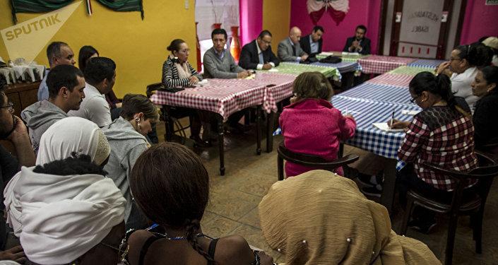 Delegación de Senegal durante la reunión de madres centroamericanas con autoridades mexicanas