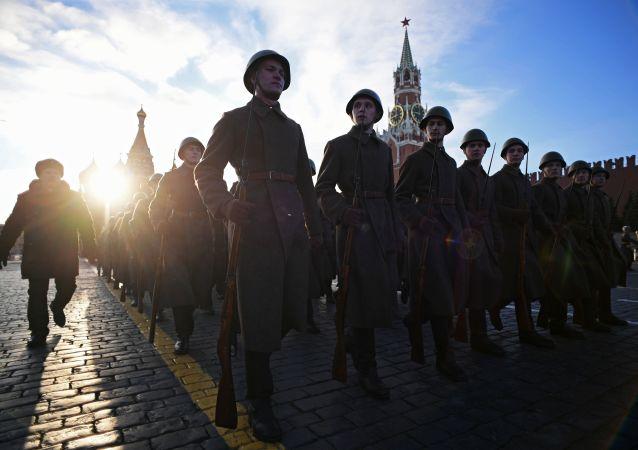 Ensayo de la marcha dedicada al 77º aniversario del desfile militar de 1941