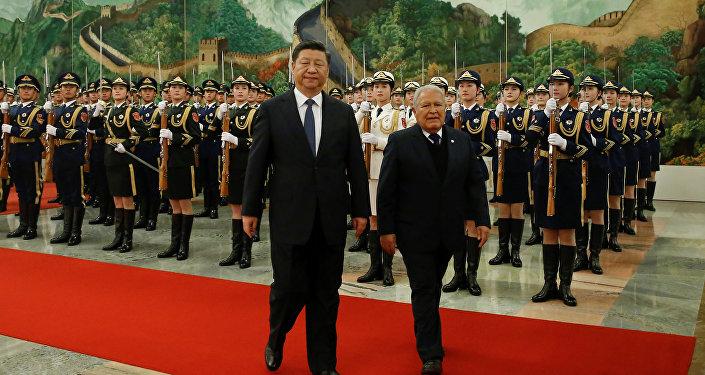 Xi Jinping, presidente de China, y Salvador Sánchez Cerén, presidente de El Salvador