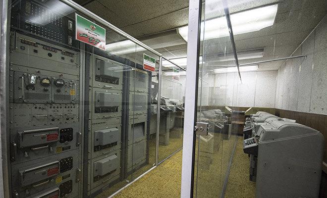 Centro de procesamiento de información en la antigua sede diplomática de EEUU en Teherán, hoy día convertida en museo