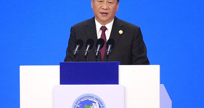 El presidente chino, Xi Jinping, ofrece un discurso inaugural durante la ceremonia inaugural de la primera Exposición Internacional de Importaciones de China en Shanghái, el 5 de noviembre de 2018