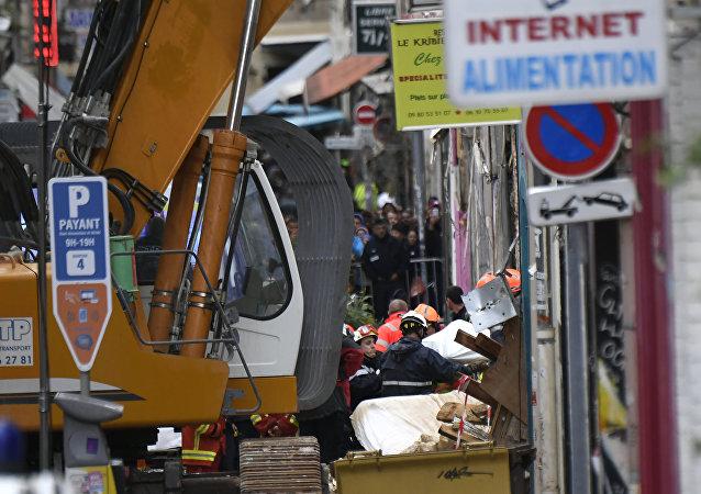 Los escombros de dos viviendas que colapsaron en Marsella, Francia