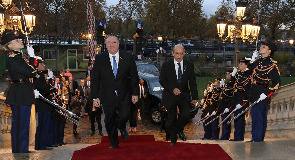 El secretario de Estado de EEUU, Mike Pompeo, y el canciller francés, Jean-Yves Le Drian