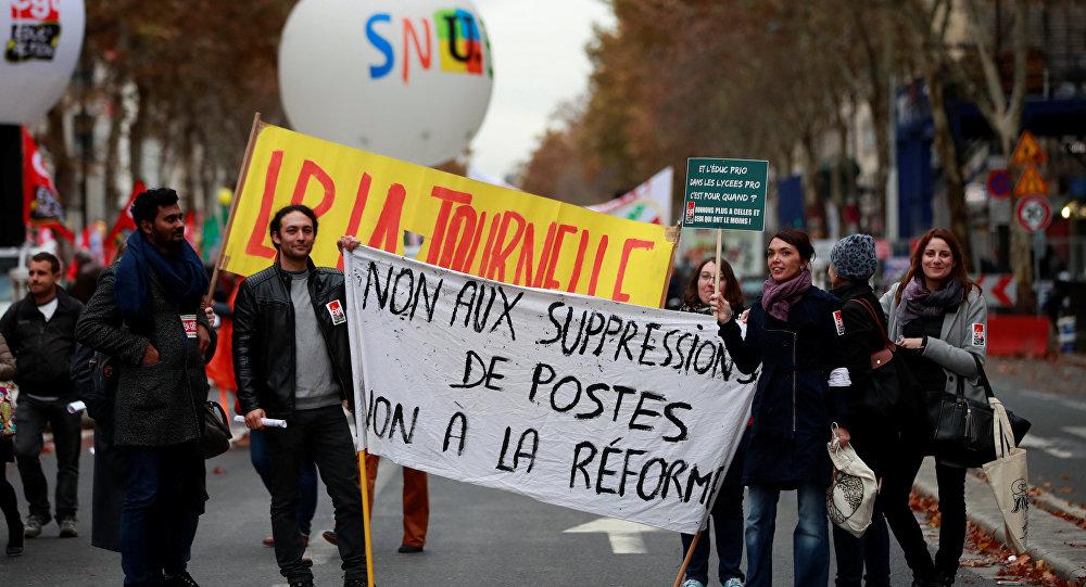 Protestas contra la reforma educativa de Macron