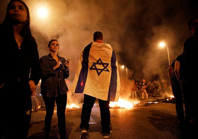 Protesta contra el alto el fuego en Israel