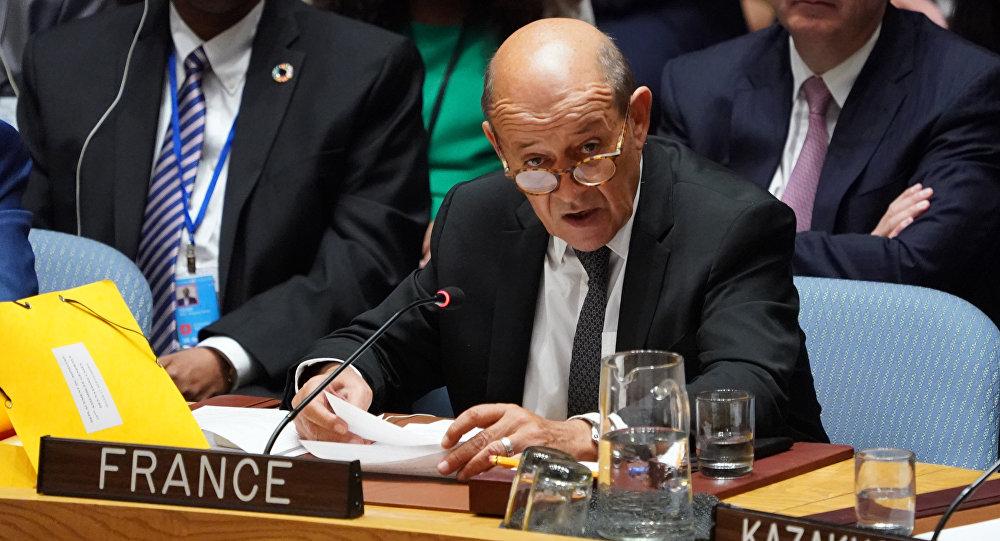 El ministro de Relaciones Exteriores francés, Jean-Yves Le Drian, habla en la reunión del Consejo de Seguridad de las Naciones Unidas