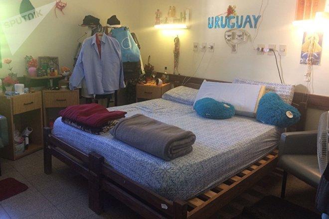 Dormitorio de la residencia de los médicos cubanos en Uruguay