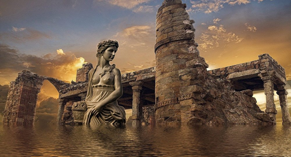 Atlántida, ciudad mítica (ilustración artística)